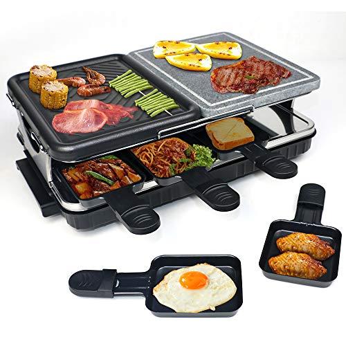 Raclette Grill con Pietra Naturale e Piastra Griglia in Alluminio, 2 In 1 Grill Elettrica per 8 Persone, Include 8 Padelle, Termostato Regolabile, 1300W Nero