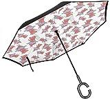 qinhanxinchengxianlibaihuodian Rosa Schwein-Ballerina Blauer Rock Tutu Regenschirm mit C-förmigen Griff, Anti-UV-wasserdicht Winddicht für Auto Regen im Freien