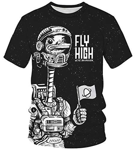 Ocean Plus Unisex Rundhals Sportswear T-Shirt Kostüm mit Aufdruck Fasching Größen S-3XL Tops mit Kurzarm (XXL (Referenzhöhe: 175-180 cm), Gans Astronaut)