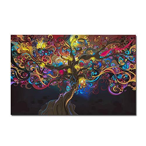 mmzki Psychedelische LSD -Baum -Licht Poster und Drucke Leinwand -Drucke Gemälde an der Wand Bilder für WohnzimmerWohnkulturNo Framed-No_Frame_30x40_cm_XQ-411