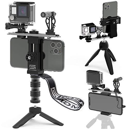 DREAMGRIP Videocamera per riprese Verticali/Orizzontali Scout VL con Microfono direzionale Minigun, Microfono Lavalier Lapel, Il miglior Kit di Base Youtube Compatibile con iPhone, Samsung