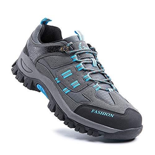 Zapatillas Trail Running Hombre Zapatos Senderismo Deporte Antideslizantes Cordones Ligero 5-Gris EU43