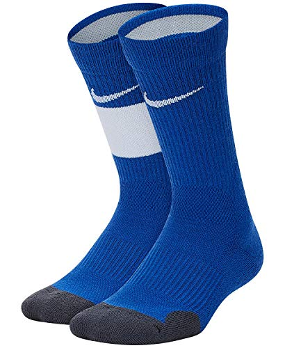 Nike Youth Elite Basketball Crew Socks 2 Pack (Game Royal/White/Medium)