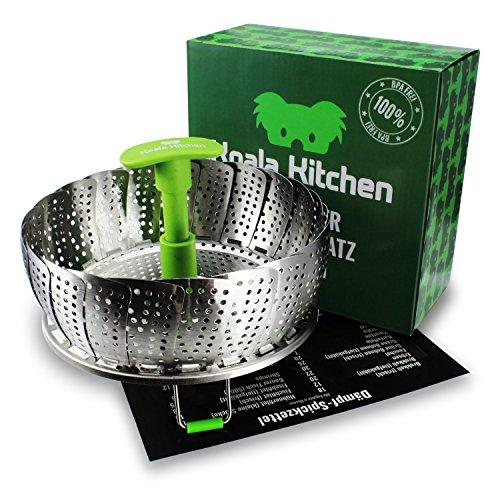 Edelstahl Dampfgarer Einsatz für Baby-Nahrung geeignet von Koala Kitchen - Faltbarer Dämpfeinsatz für Kochtöpfe - Kartoffeldämpfer, Gemüsedämpfer, Dünsteinsatz