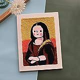 Punch Needle Embroidery Starter Kits Rug Punch Needle Tool Threader Fabric Embroidery Hoop Yarn Rug Punch Needle 9.8×13.7inch(Mona Lisa)