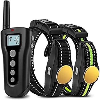 Bousnic Dog Training Collar 2 Dogs Upgraded 1000ft Remote Rechargeable Waterproof Electric Shock Collar with Beep Vibration Shock for Small Medium Large Dogs  15lbs - 120lbs