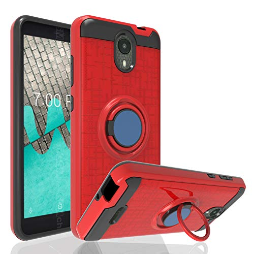 Ayoo:Wiko Ride Case,AT&T Radiant Core Case,Cricket Icon Case,Wiko Ride U300 Case,BLU Wiko Ride W-U300 Case,360 Degree Rotating Ring Stand Full Bodystocking Dual Layer Case for Wiko Ride-ZK Red