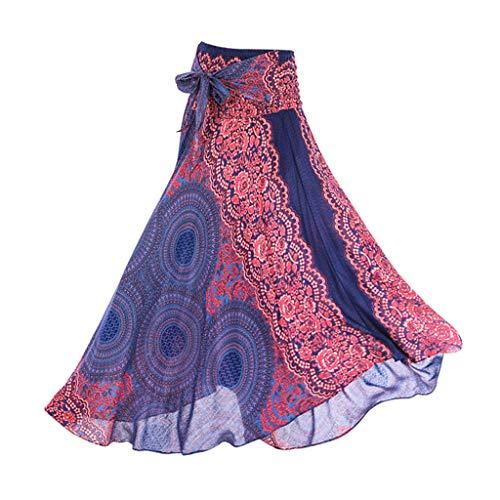 Bonarty Hippie Bohemian Rock Der Frauen Langes Zigeunerkleid Boho Kleidet Rock - Blau