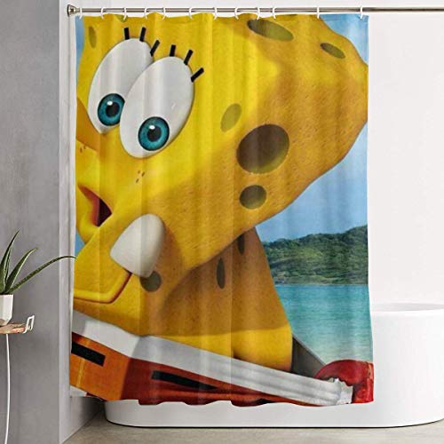 CDMT-XU1 Duschvorhang Shy Spongebob Kunstdruck, Polyester Stoff Badezimmer Dekorationen Sammlung mit Haken 60X72 Zoll