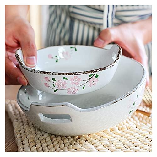 platos llanos Flor de cerezo Placa para hornear Sakura Diseño Plato de cena Bandea Bandeja Bandeja Cuenco de arroz Platos con plato de doble mango Platos de Cena ( Plate Size : 8 inches )