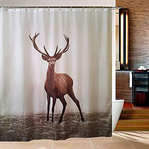 Stylish High-Grade Badezimmer Duschvorhang - Wasserdicht & Anti-Mildew Polyester Gewebe - Elch Muster - Standard Badewanne Größe (1,8m * 1,8m) -12 Haken