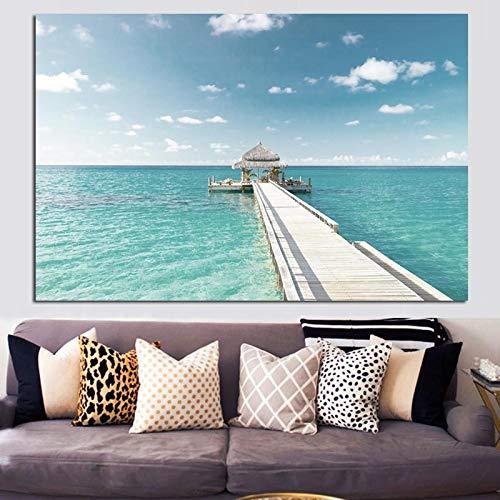 wZUN Imprimir el Cielo Azul y el océano Isla cabaña habitación Vista al mar Pintura al óleo Cartel sobre Lienzo Mural Moderno Sala de Estar Imagen 50x70cm