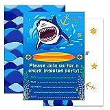 WERNNSAI Invitaciones de Fiesta Squalo Oceanico con Sobres - 20 Set Forniture per Feste Tarjetas de Invitación de Cumpleaños