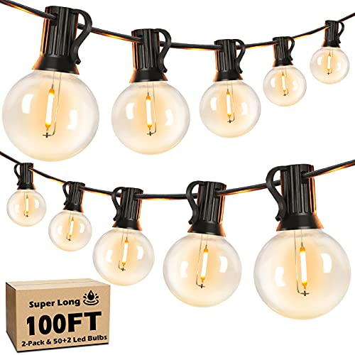 Outdoor G40 String Lights Waterproof 100FT, Globe LED Light String Dimmable with 52 Shatterproof...