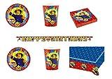 Party Store web by casa dolce casa Sam Il Pompiere Coordinato ADDOBBI TAVOLA Festa Sam - Kit n°1 CDC-(8 Piatti da 23 CM,8 Bicchieri,20 TOVAGLIOLI,1 TOVAGLIA ,1 Ghirlanda )