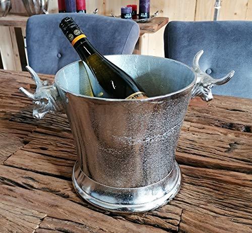 Glacette per champagne a forma di toro, refrigeratore per bottiglie, secchiello per champagne, in alluminio argentato, per champagne, vino e champagne, L 33 cm