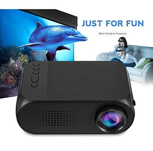 WF Proyector 3D HD, 600 Lúmenes Teléfono Inteligente Pantalla De La Misma Pantalla Videojuegos Luz Azul Roja Control Remoto 3D 1080P Home Theater Beamer con Gafas,Black