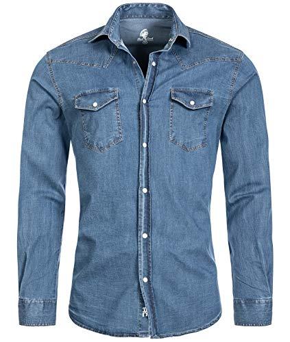 Rock Creek Herren Jeans Hemd Herrenhemd Denim Jeanshemd Vintage mit druckknöpfen Regular Fit Stehkragen Kentkragen Langarm Männer H-200 Hellblau M