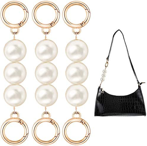 3 Pieces Bag Strap Extender Artificial Pearl Replacement Bag Chain Strap for Purse Clutch Handbag product image