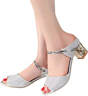 ACHICOO Women Fish Mouth Shallow Thick Heel Non-slip Sandals
