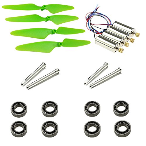 Upgrade Motors Main Blade Propellers Shafts Bearings for Hubsan H502E H502S Drone Replacement CCW CW with Metal Gear RC Quad Copter Spare Parts Set (Green)