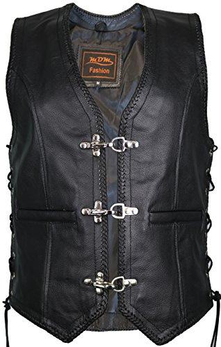 Damen Lederweste, Bikerweste, Motorradlederweste, Clubweste, Chopperweste, Rocker Weste, Kutte, Vest, Leather Vest, Leather Waistcoat, XL, Schwarz