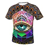 Men Boys Colorful Tattoo Trippy Acid Eye Shirts Essential Short Sleeve Shirts Top Big and Tall Size Summer Sportswear for Sport Game Golf, Crewneck, Fast Dry, Sweatproof