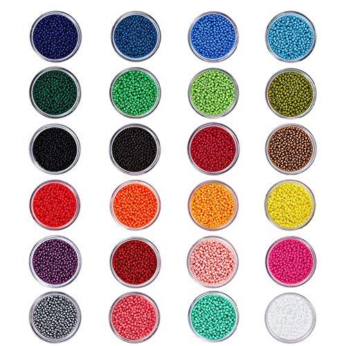 PandaHall Elite 24 Boîtes 24 Couleurs Perles de Rocaille en Verre Perles Intercalaires Rondes Perles en Vrac pour Fabrication de Bijoux, 2x1.5mm, Trou: 0.3mm