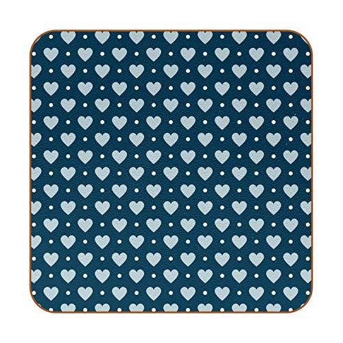 Posavasos para bebidas, posavasos con diseño de corazones y puntos azules