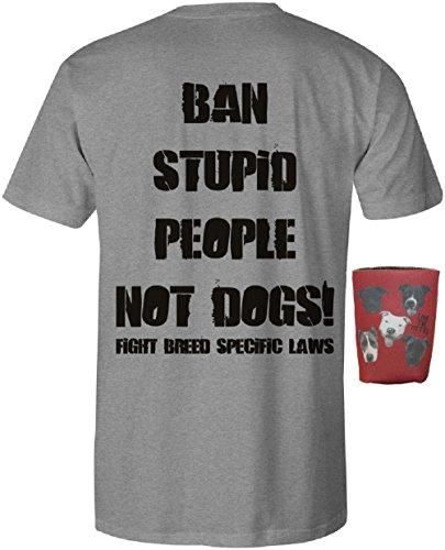 Ban Stupid People Not Dogs Pit Bull Mens Shirt Pitbull Gift Pitbull Accessories (Small, Grey)