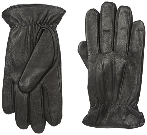 Dockers Men's Leather Gloves with Smartphone Capacitive Touchscreen Compatibility, Black, Large
