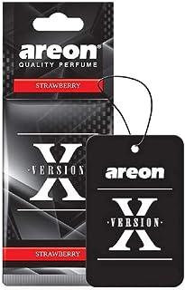 AREON X Auto Lufterfrischer Erdbeere Duft Schwarz Anhänger Aufhänger Spiegel Autoduft Pappe 2D (Strawberry Set Pack x 6)