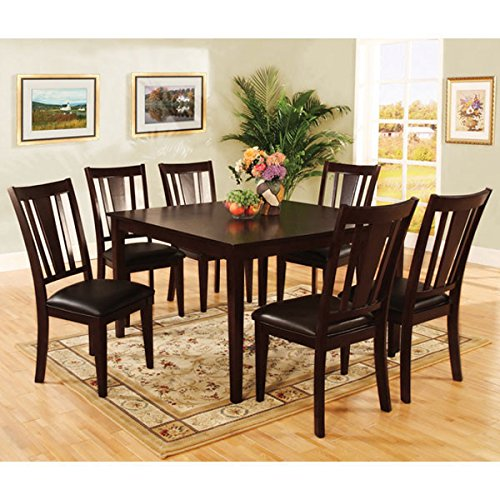 247SHOPATHOME IDF-3325T 7PC Dining-Room, 7-Piece Set, Brown