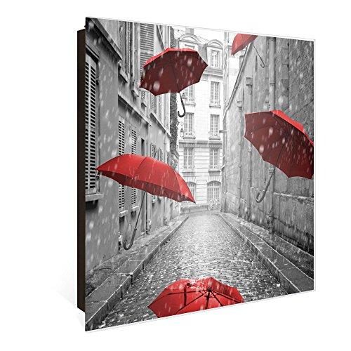 banjado Großer Schlüsselkasten aus Glas | Schlüsselbox mit 50 Haken | beschreibbare Glastür Scharnier Rechts | als Magnettafel nutzbar | Schlüsselaufbewahrung 30cm x 30cm | Motiv Rote Schirme