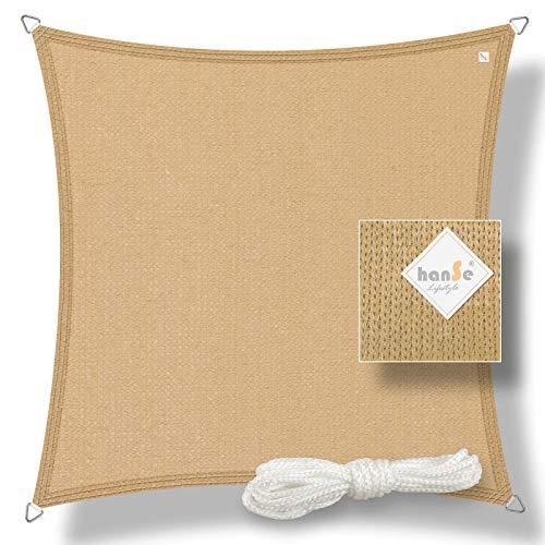 hanSe® Marken Sonnensegel Sonnenschutz Wetterschutz Wetterbeständig HDPE Gewebe UV-Schutz Quadrat 3,6x3,6 m Sand