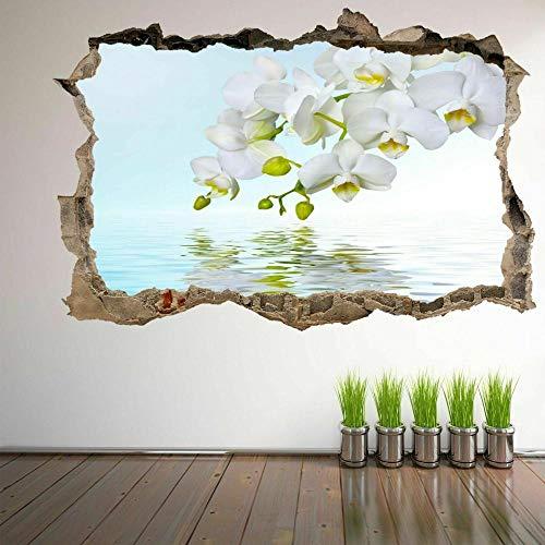 MXLYR Pegatinas de pared Orquídea blanca agua pared arte pegatina mural calcomanía habitación de niños