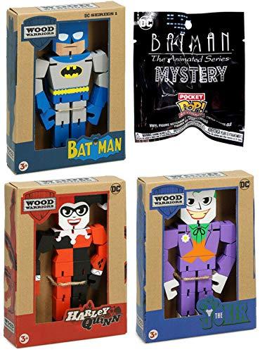 Funko BatSeries Animated {Batman} Mystery Pocket Pop! Colgador de Llavero con Figura de Batman clásica + el Joker y Harley Quinn Warriors DC Comics, Paquete de 4