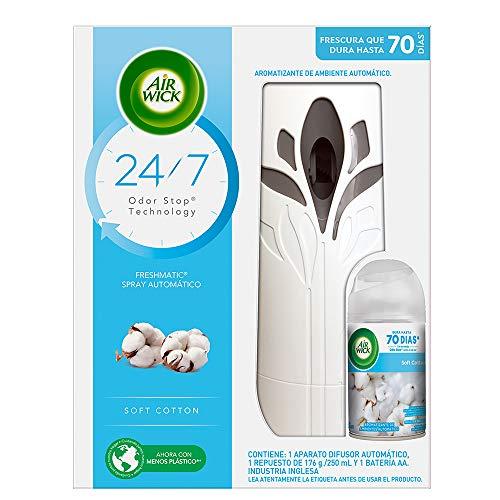 Air Wick Aromatizante Air Wick Aparato Freshmatic Pure Soft Cotton 250ml, color Blanco, 250 ml, pack of/paquete de