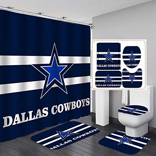 Camille&Andrew 4PCS/Set Navy Blue White Stripe Texas Star Shower Curtain, American Sports Athlete Football Bathroom Decor, Waterproof Fabric Bath Curtain Non-slip Bath Rugs Soft Toilet Carpet, Style 4