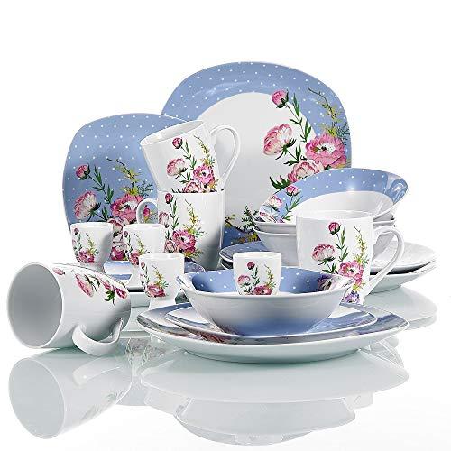 VEWEET Hannah 20 Piezas Vajillas de Porcelana Juegos con 4 Hueveras, 4 Tazas Mugs 350 ml, 4 Cuencos de Cereales, 4 Platos y 4 Platos de Postre para 4 Personas