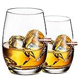 Set de 2 Vasos de Whisky Cristal - Vaso de Whisky Personalizado, Tumblers Vasos Sin Plomo, Accesorios de Vino para Cóctel, Whisky Escocés, Bourbon, Regalo de Whisky para Hombre (560 ml / 56 cl)