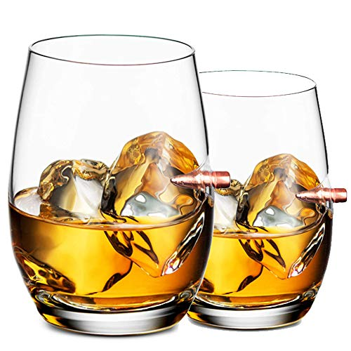 2 Pezzi Bicchieri Whisky - Bicchieri Vino Personalizzato, Bicchiere Cocktail e Whiskey Cristallo, Bicchieri Birra Forma di Proiettile, Bicchieri per Bourbon/Rum/Bar Tumbler (560ml/56cl)