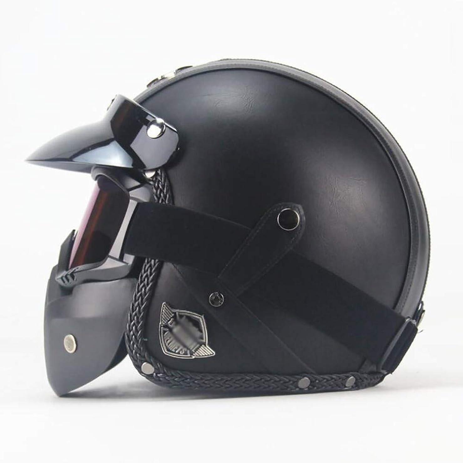 マチュピチュ拡大する矛盾オートバイジェットヘルメット、ビンテージハーレークラシックレザーオープンフェイスヘルメットモペットクラッシュ3/4大人のバイクヘルメット、レトロスクータークルーザーパイロットバイカーユニセックスヘルメットバイザー、DOT認定