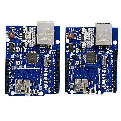 KingBra Ethernet Shield W5100 Netzwerkerweiterungsboard mit Micro-SD-Kartenslot für Arduino 2009 R3 Mega 1280 Mega 2560 (2 Stück)