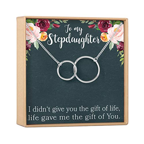 Stepdaughter Gift Necklace: Gifts from Stepmom, Stepsister, Blended Family, Wedding, Daughter of Bride or Groom, 2 Interlocking Circles (silver-plated-brass, NA)
