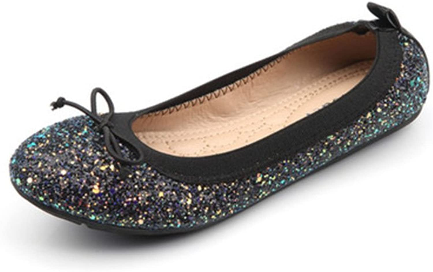Sequins Ballet Flats for Women, Single Bow Round Toe Bowkont Casual shoes
