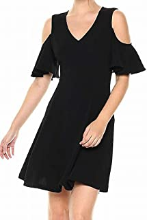 Lark & Ro Women's Dress Black US XS A-Line Cold Shoulder Fit & Flare