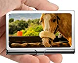 Professional Business Card Holder Stainless Steel,Wood mare Pasture Credit Card ID Case/Holder/Cards...