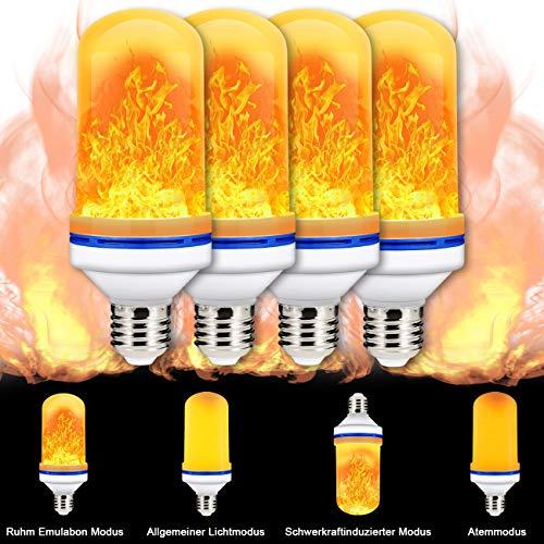 Flammen Lampe Flamme Glühbirne 4 Beleuchtungsmodi Indoor/Outdoor dekorative Atmosphäre LED Lampen für Halloween/Weihnachten, 4W E27 Base 4 Stück