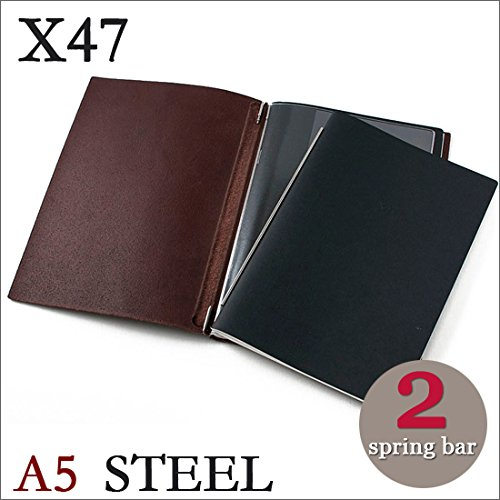 X47 STEEL 本革 A5 カスタニア ダークブラウン 2本バー ドイツ製 ノートブック 無地・方眼 ノートセット